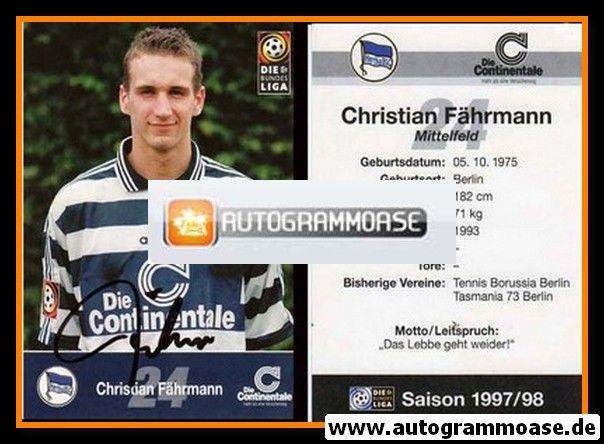 Autogramm Fussball | Hertha BSC Berlin | 1997 | Christian FÄHRMANN