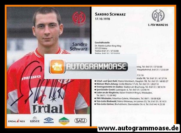 Autogramm Fussball | FSV Mainz 05 | 1999 | Sandro SCHWARZ