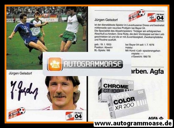 Autogramm Fussball | Bayer Leverkusen | 1984 | Jürgen GELSDORF