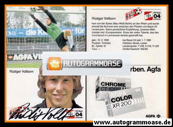 Autogramm Fussball | Bayer Leverkusen | 1984 | Rüdiger VOLLBORN