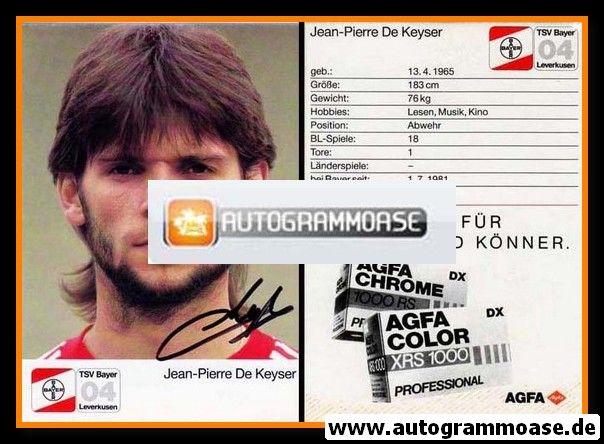 Autogramm Fussball | Bayer Leverkusen | 1987 | Jean-Pierre DE KEYSER (1)
