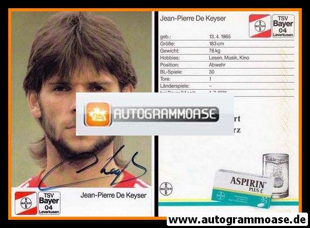 Autogramm Fussball   Bayer Leverkusen   1988   Jean-Pierre DE KEYSER