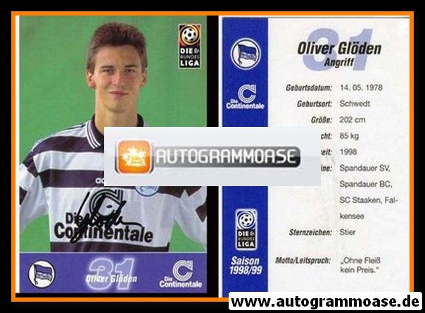 Autogramm Fussball | Hertha BSC Berlin | 1998 | Oliver GLÖDEN