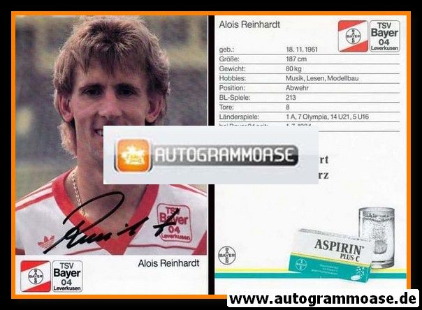 Autogramm Fussball | Bayer Leverkusen | 1989 | Alois REINHARDT