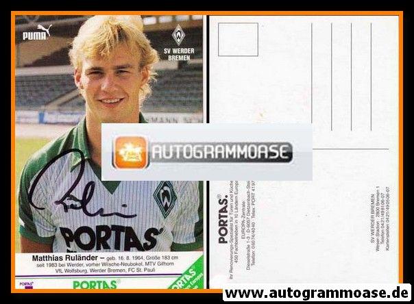 Autogramm Fussball | SV Werder Bremen | 1986 | Matthias RULÄNDER