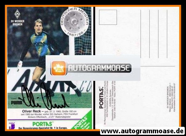 Autogramm Fussball | SV Werder Bremen | 1988 | Oliver RECK