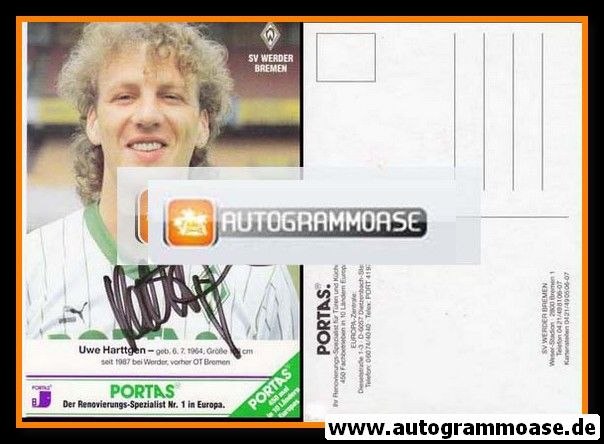 Autogramm Fussball   SV Werder Bremen   1990   Uwe HARTTGEN