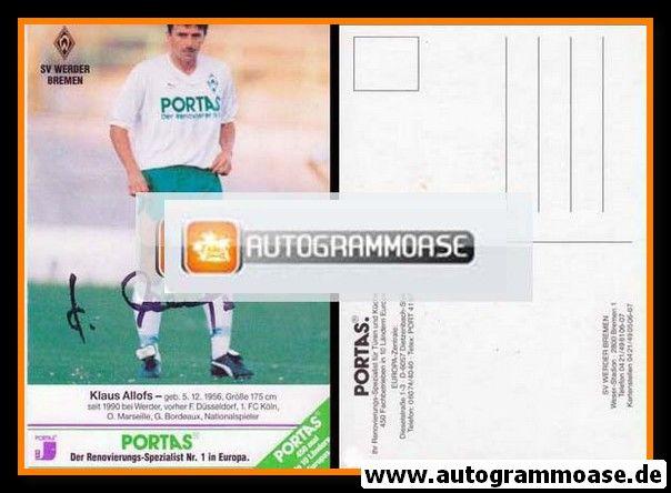 Autogramm Fussball | SV Werder Bremen | 1990 | Klaus ALLOFS