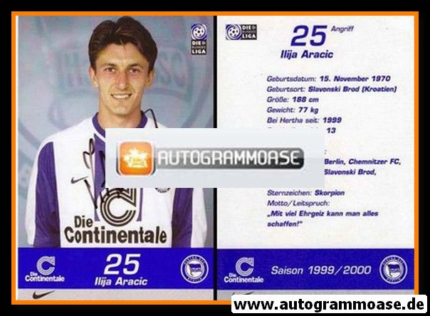 Autogramm Fussball | Hertha BSC Berlin | 1999 | Ilija ARACIC