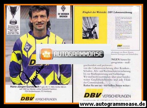 Autogramm Fussball | SV Werder Bremen | 1992 | Hans-Jürgen GUNDELACH