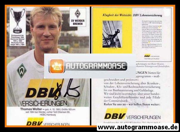 Autogramm Fussball   SV Werder Bremen   1992   Thomas WOLTER