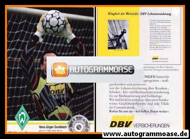 Autogramm Fussball   SV Werder Bremen   1993 NAV   Hans-Jürgen GUNDELACH