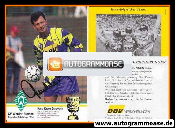 Autogramm Fussball | SV Werder Bremen | 1994 | Hans-Jürgen GUNDELACH