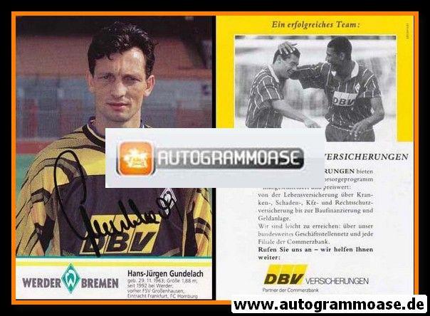 Autogramm Fussball | SV Werder Bremen | 1995 | Hans-Jürgen GUNDELACH