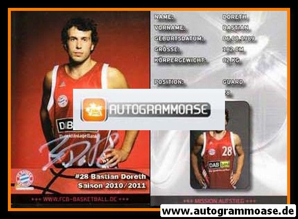 Autogramm Basketball | FC Bayern München | 2010 | Bastian DORETH