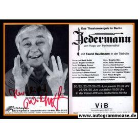 Autogramm Schauspieler   Wolfgang GRUNER   1980er (Portrait SW) Jedermann