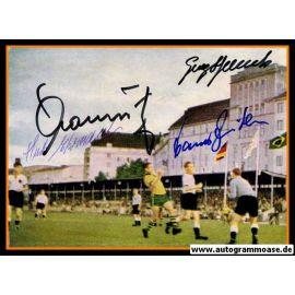 Autogramme Fussball   DFB   1952 Foto   4 AG (Ehrmann, Mauritz, Stollenwerk, Zeitler) Brasilien