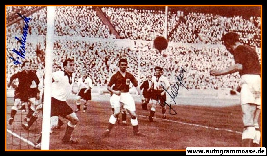 Autogramme Fussball   DFB   1954 Foto   2 AG (Harpers, Herkenrath) England