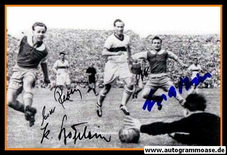 Autogramme Fussball   VfB Stuttgart   1952 Foto   Spielszene SW + 4 AG (Saarbrücken)