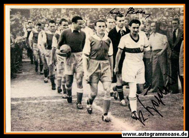 Autogramme Fussball | VfB Stuttgart | 1952 Foto | Einlauf + 2 AG (BÖGELEIN + RETTER)