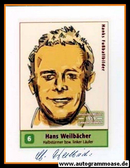 Autogramm Fussball | Eintracht Frankfurt | 1959 Foto | Hans WEILBÄCHER (Zeichnung Hanks)