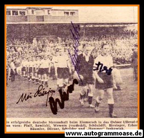 Autogramme Fussball   DFB   1956 + 4 AG (Biesinger, Pfaff, Sawitzki, Wewers) Einlauf Norwegen