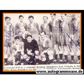 Mannschaftskarte Fussball | DFB | 1950er B-Elf + 3 AG (Kraus, Kwiatkowski, Waldner)