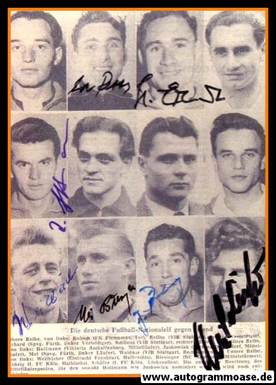 Autogramme Fussball | DFB | 1956 Foto + 7 AG (Collage Irland)