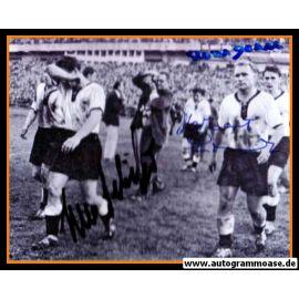 Autogramme Fussball | DFB | 1958 WM Foto | 3 AG (Eckel, Erhardt, Schäfer) Spielende SW