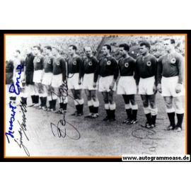 Mannschaftsfoto Fussball   DFB   1959 + 5 AG (Erhardt, Geiger, Haller, Sawitzki, ?) Polen