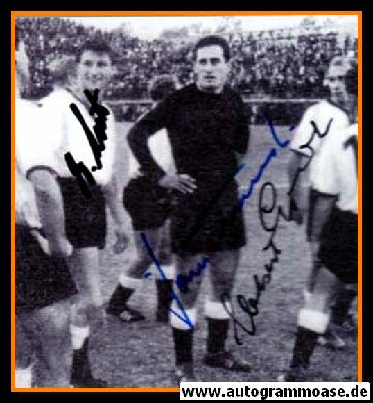 Autogramme Fussball | DFB | 1961 Foto | 3 AG (Erhardt, Lutz, Tilkowski) Griechenland