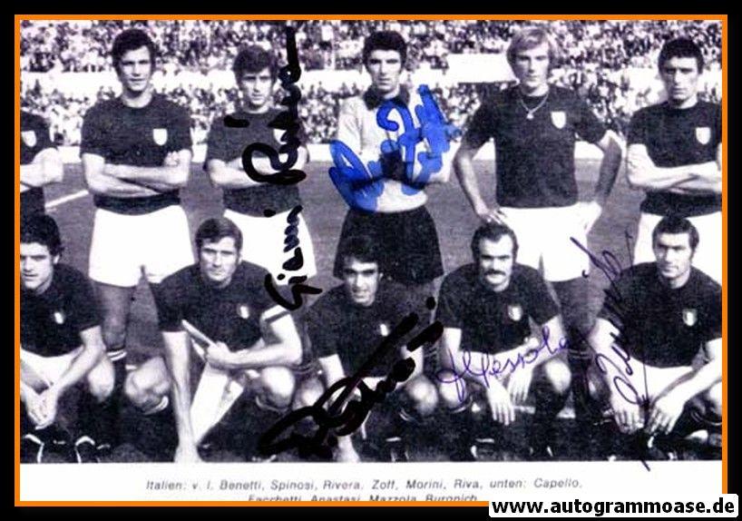 Mannschaftsfoto Fussball   Italien   1970er + 5 AG (Rivera, Zoff, Anastasi, Mazzola, Buronich)