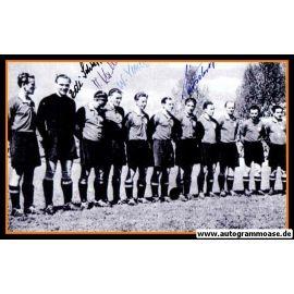 Mannschaftsfoto Fussball   1. FC Nürnberg   1951 + 4 AG (Mirsberger, Schaffer, Kallenborn, Vetter)