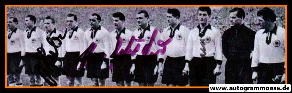 Mannschaftsfoto Fussball | DFB | 1955 + 3 AG (Harpers, Schäfer, Seeler) Italien