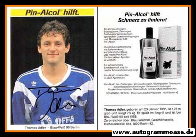 Autogramm Fussball   Blau-Weiss 90 Berlin   1990   Thomas ADLER