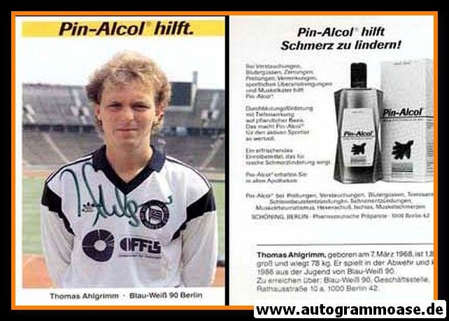 Autogramm Fussball | Blau-Weiss 90 Berlin | 1990 | Thomas AHLGRIMM
