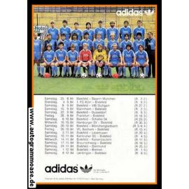 Mannschaftskarte Fussball | DSC Arminia Bielefeld | 1984 Adidas