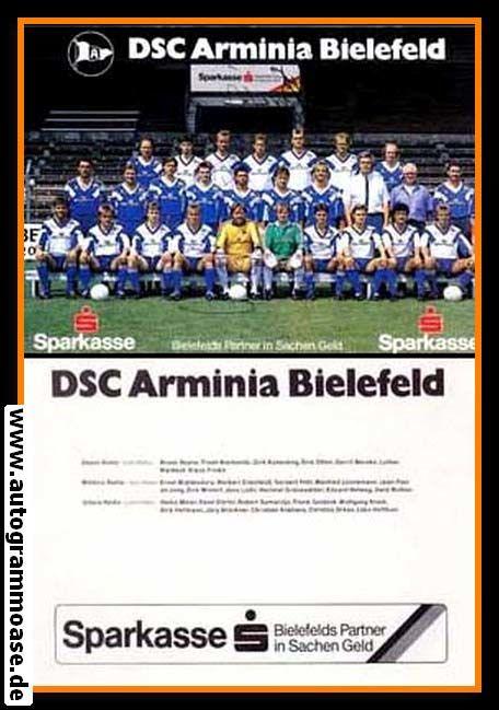 Mannschaftskarte Fussball   DSC Arminia Bielefeld   1990 Sparkasse + 5 AG