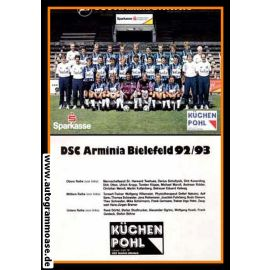 Mannschaftskarte Fussball | DSC Arminia Bielefeld | 1992 Sparkasse