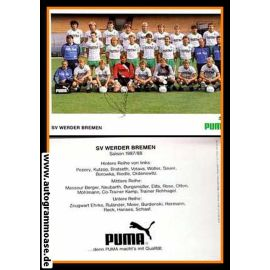 Mannschaftskarte Fussball | SV Werder Bremen | 1987 Puma + AG Burdenski