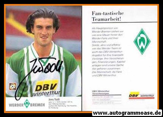 Autogramm Fussball | SV Werder Bremen | 1996 | Jens TODT