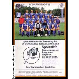 Mannschaftskarte Fussball   SV Darmstadt 98   1982