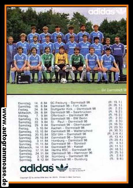 Mannschaftskarte Fussball   SV Darmstadt 98   1984 Adidas