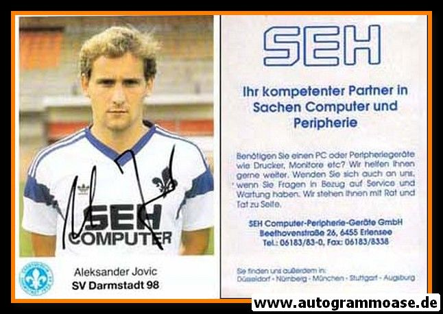 Autogramm Fussball | SV Darmstadt 98 | 1989 | Aleksander JOVIC
