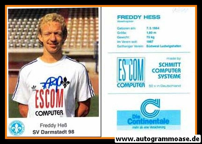 Autogramm Fussball | SV Darmstadt 98 | 1990 | Freddy HESS