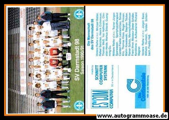 Mannschaftskarte Fussball | SV Darmstadt 98 | 1990