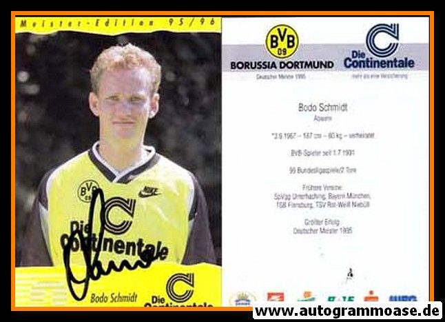 Autogramm Fussball   Borussia Dortmund   1995 Continentale   Bodo SCHMIDT