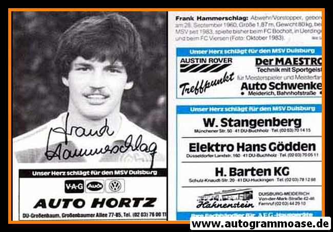 Autogramm Fussball   MSV Duisburg   1984   Frank HAMMERSCHLAG