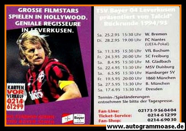 Autogrammkarte Fussball   Bayer Leverkusen   1994   RÜCKRUNDE