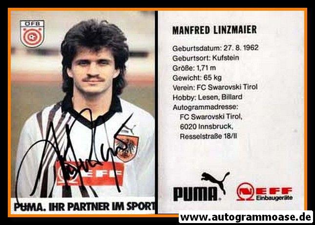 Autogramm Fussball | Österreich | 1980er Neff | Manfred LINZMAIER
